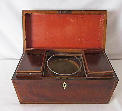 Antique Flame Mahogany Tea Caddy Complete Set English 1800's