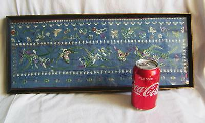 Antique Chinese Blue Silk Sleeve Band Embroidered with Butterflies in old frame