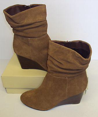 RRP £60 - ex-NEXT Ladies Ankle Suede Wedge Slouch Tan Brown Boots Size New UK 8