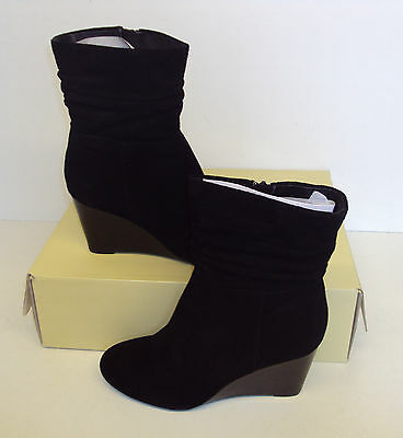 RRP £60 - NEXT Ladies Ankle Suede Wedge Slouch Black Boots New Size UK 5