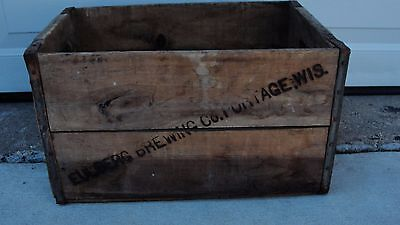 Vintage EULBERG Brewing Co. Wooden Crate, Portage Wi.