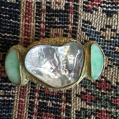 19th C Chinese Gilt Bronze Belt Buckle with Jade & Rutilated Rock Crystal