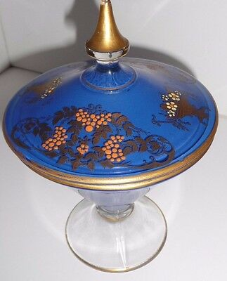 Vintage Candy Dish On Pedestal With Lid Blue Gold Hand Painted Flowers