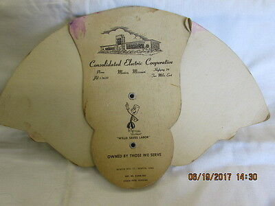 Vtg Willie Wiredhand Electric Cooperative Mexico Mo Advertising Folding Hand Fan