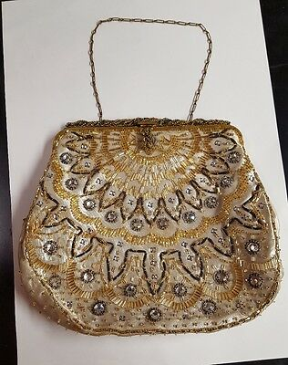 Genuine Vintage 1920 Cloth Heavily Beaded & Diamante Evening Bag With Chain