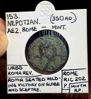 *EXCEPTIONALLY RARE RULER* NEPOTIAN AE2. Ancient Roman Imperial Coin.