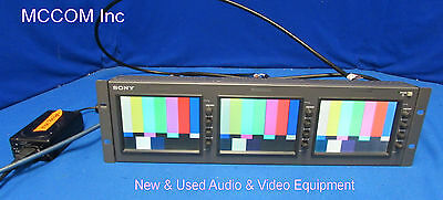 """Sony LMD-5320 Triple 5"""" LCD Monitors Analog Only w/ power supply"""