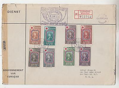 CURACAO, 1944 Red Cross Fund set of 8, Censored First day cover to NY.