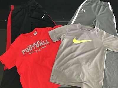 Boys Youth Size Small Nike & Under Armour T-Shirts & Long Pants ( Lot Of 4)