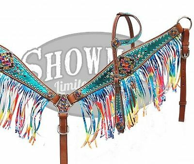 Showman LIMITED EDITION Bejeweled TIE DYE Leather Bridle & Breast Collar Set!
