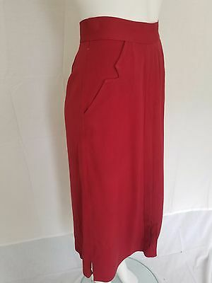 Vintage 50s 60s Handmade Maroon Aline Skirt Cutout Pocket Front Pleat Detail S/M
