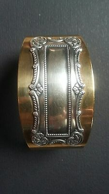 Antique Vintage Victorian Ornate Sterling Silver Brass LRG Chunky Cuff Bracelet