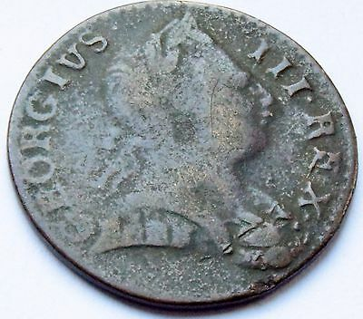 1774 King George III British Colonial Halfpenny - Non Regal Young Head Scarce