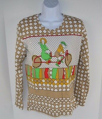 Vtg 70s MOD Disco Tandem Bicycle Scene Polyester Khaki SHIRT Top L/S Medium NOS