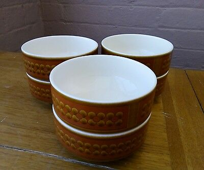 Hornsea Pottery Saffron Cereal/Soup Bowls and Egg Cups x 6