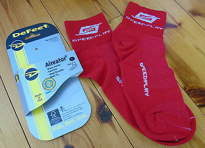 Defeet Aireater Cycling Sock, Speedplay Red, Large, New