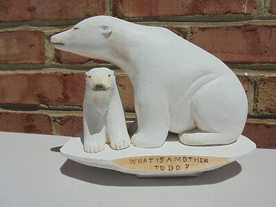 Hand Carved Wood Signed Polar Bears Mother & Cub Figure Shaw 2007