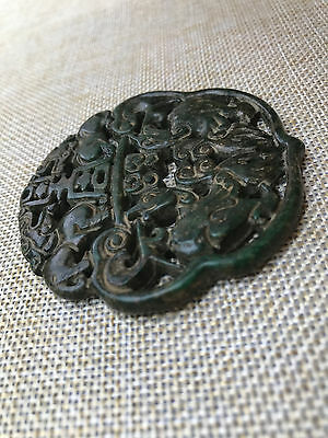 Antique Chinese Hand-carved aristocratic wearing Jadeite jade pendant A01