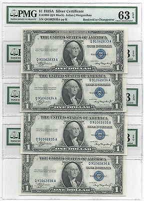 1935A $1 Silver Certs, Fr1620, Changeover Pair/bookends, Pmg Choice New 63 Epq
