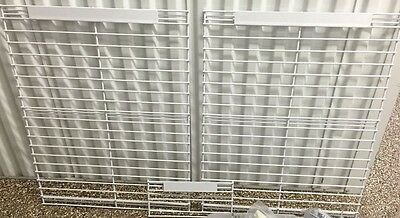 "3 White Grid Wall Store Display Racks Wall Mount Two 23-3/4"" square + 1 small"