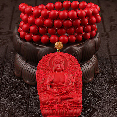 Natural Cinnabar Carving Chinese Dari Buddha Statue Sculpture Pendant Necklace