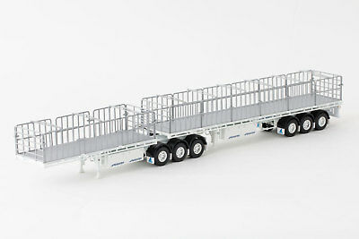 New Drake Maxitrans Freighter B Double Flat Top Trailers White 1:50 ZT09124