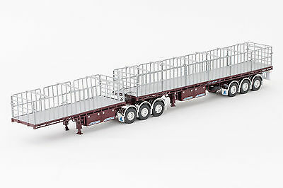 New Drake Maxitrans Freighter B Double Flat Top Trailers Burgundy 1:50 ZT09135