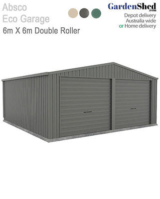 Absco Double Eco Garage – 6m x 6m x 3.02m Roller Door