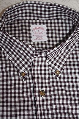 Brooks Brothers Men's Long Sleeve Brown Check Regular Fit Dress Shirt Size L