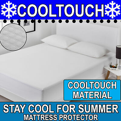 COOL TOUCH COLD Mattress Protector Summer Cover Fully Fitted Topper Underlay