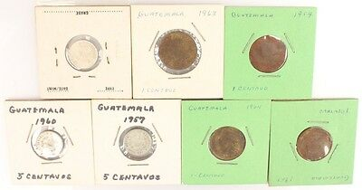 Lot of 7 1951-64 GUATEMALA Coins; Mixed Copper, Silver;
