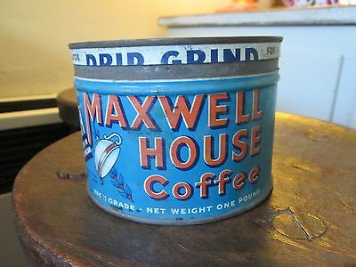 """Vintage MAXWELL HOUSE Coffee Tin 1Lb.can DRIP GRIND """"Good to the Last Drop"""""""