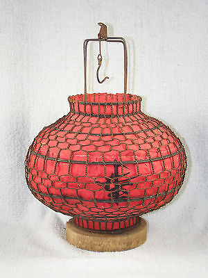 Vintage Large Chinese Red Globe Wire & Paper Hanging Candle Lantern