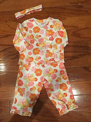 Vintage Gymboree poppies baby girl top pants outfit 6-12 months