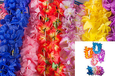100 Piece Assorted Fabric Hawaiian Flower Leis, Headband, Wristlet Hula Mega Pac