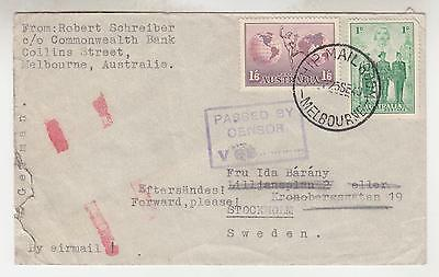 AUSTRALIA,1940 Airmail cover to Sweden, censored, Ship Mail Room, Melbourne.