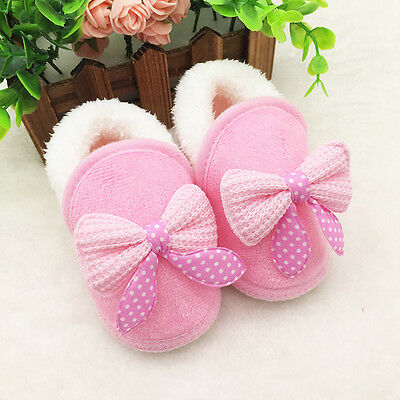 Pink Toddler Newborn Baby Girls Bowknot Soft Sole Boots Prewalker Warm Shoes 14