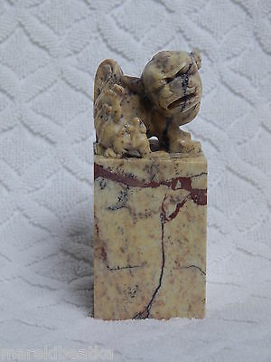 Vtg Chinese Carved Stone Foo Dog Stamp, Seal,george Johnson W / Box