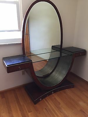 Art Deco Tall Vanity With Marble And Beveled Full Length Mirror Beautiful!!!