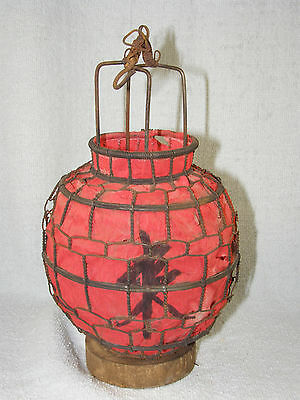 Vintage Small Chinese Red Globe Wire & Paper Hanging Candle Lantern