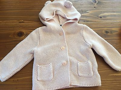 Baby Gap 6-12 Month Sweater Hoodie Ears Pale Pink Buttons Knit