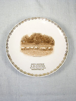 Harker Pottery THOROUGHBREDS Sheep in Field - B. Silverstein Advertising Plate