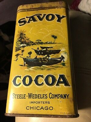 SAVOY COCOA, Steele-Wedele's Company, Chicago, old tin, advertising, hinged lid