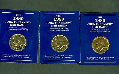 (3) 1980 24Kt Gold Plated Kennedy Half Dollar