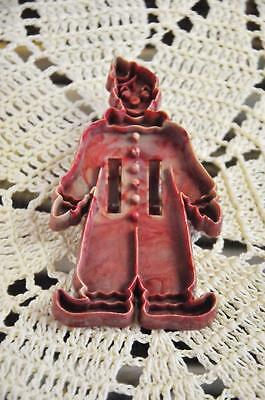 Rare Vintage Kleeware? Made In England Red Marbled Plastic Cookie Cutter - Clown
