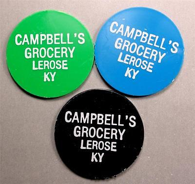 LEROSE KENTUCKY Trade Tokens CAMPBELL'S GROCERY 3pcs 1-5-10¢ ME6503