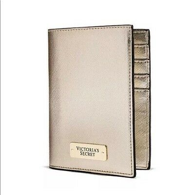 VICTORIAS SECRET LEATHER PASSPORT ID HOLDER GOLD TRAVEL CASE COVER Free Shipping