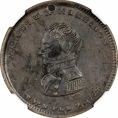 William Henry Harrison Political Hard Times Token WHH 1840-25 NGC AU