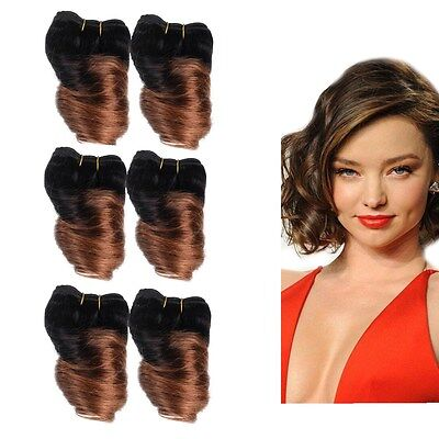7A fullhead 300g 6pcs loose wave Human Hair Extensions  8''  Weft Ombre 1B/30#