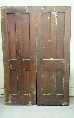 Pair Of Antique Short Narrow Solid Pine 4 Panel Doors  2 By 6 Foot